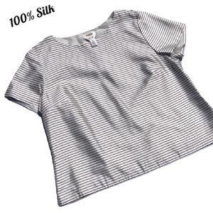 100% Silk Blouse Striped Lightweight Short Sleeve